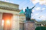 Monument to Field Marshal Prince Mikhail Kutuzov on the background of Kazan Cathedral in St Petersburg, Russia