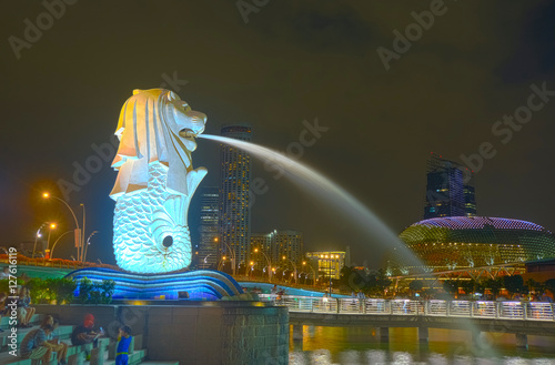HDR photography of Merlion statue of business district Marina Bay, Singapore Poster