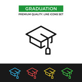 Vector graduation icon. Thin line icon