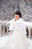Winter wedding bride portrait