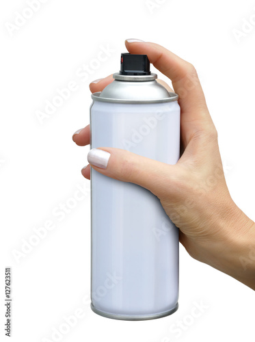 Poster Spray aerosol in female hand
