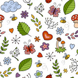 Seamless pattern with items of nature on white background