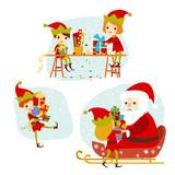 Elves Santas helpers cartoon vector illustration. Set of Santa Claus elf christmas kids for congratulation card, website, celebration, booklet and banner.