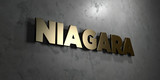 Niagara - Gold sign mounted on glossy marble wall  - 3D rendered royalty free stock illustration. This image can be used for an online website banner ad or a print postcard.