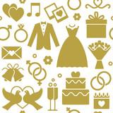 Wedding icons seamless pattern background 1 - 127640347