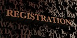 Registration - Wooden 3D rendered letters/message.  Can be used for an online banner ad or a print postcard.