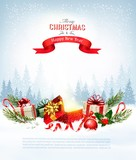 Christmas holiday background with presents and magic box. Vector