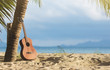 An acoustic guitar standing in the sandy beach under palm tree - 127653738