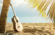 An acoustic guitar standing in the sandy beach under palm tree - 127653995