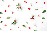floral frame with minimal creative berry arrangement pattern on white. flat lay, top view. christmas background wallpaper.
