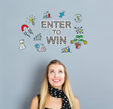 Fototapety Enter To Win concept with happy young woman