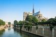 Southern facade of Notre-Dame de Paris. Paris, France