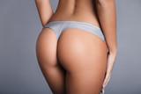 Perfect girl ass in a gray panties