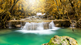 Huay Man Khamin Waterfall in autumn forest in the national park of Thailand