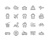 Fototapety Line Public Transport Icons