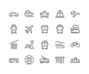 Line Public Transport Icons