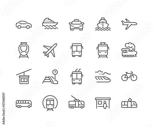 Fototapeta Line Public Transport Icons