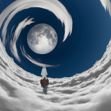 figure in white robe floating to full moon in clouds  Some elements provided courtesy of NASA