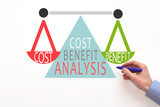 Cost benefit analysis concept on white background