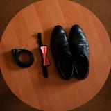 Mens shoes, belt, butterfly
