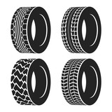 Truck or tractor, car tire, automobile wheel