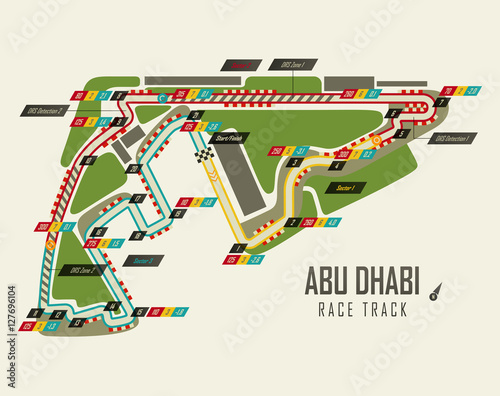 Tuinposter F1 Formula one racing track in Abu Dhabi top view