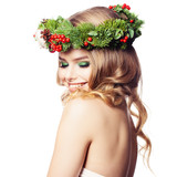 Spa Woman with Healthy Skin, Makeup and Floral Green Wreath