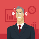 Angry boss in office. Deadline and work concept. Creative office background. Flat style design vector illustration
