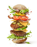 burger with flying ingredients - 127700917