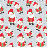 Happy Santa Claus pattern retro