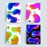 Fluid colors backgrounds set. Fluid shapes with hipster colors. Applicable for gift card,cover,poster. Eps10 vector template. - 127705389
