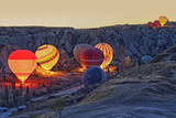 Colorful hot air balloons before launch   at Cappadocia, Turkey. Volcanic mountains in Goreme national park