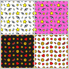Stars, Diamonds, Hearts, Smiles and Eyes Seamless Pattern Set. Fashion Backgrounds in Retro Comic Style. Vector illustration