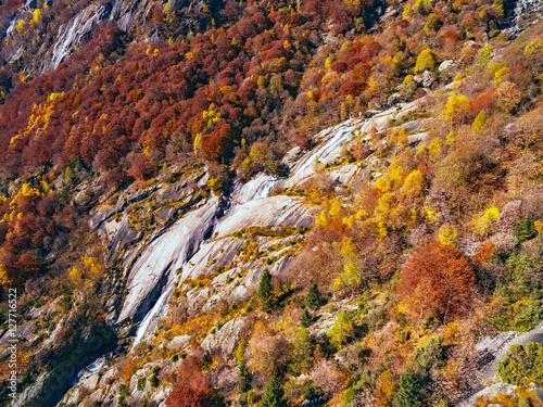 Val di Mello - Valtellina (IT) - Vista aerea autunnale Poster