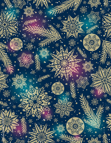 Materiał do szycia Christmas seamless pattern background with snowflakes and stars,