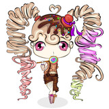 Cute little cartoon girl with sweet candy. Character design vector