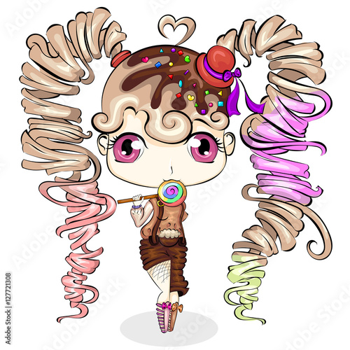 Cute little cartoon girl with sweet candy. Character design vector - 127721308