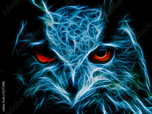 Abstract image owl dark color wallpaper background flame illustration stock