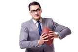 Businessman with american football isolated on white