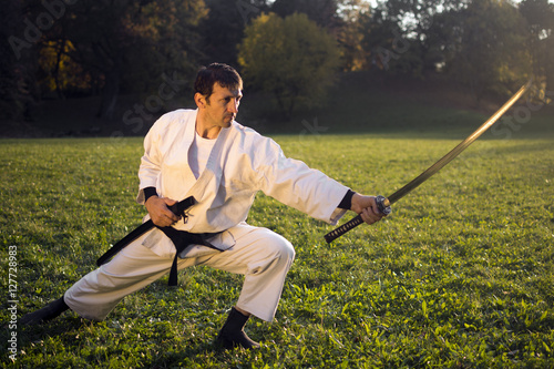 Poster white ninja with sword
