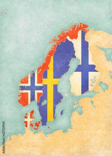 Fototapeta Map of Scandinavia - All Countries