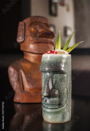 Fresh Cocktail on bar desk Poster