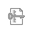 keyword list symbol. Key and document line icon, outline vector sign, linear pictogram isolated on white. logo illustration