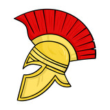 Roman soldiers helmet icon in cartoon style isolated on white background. Italy country symbol stock vector illustration.