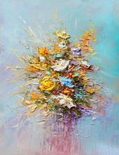 "Постер, картина, фотообои ""Oil painting flowers"""
