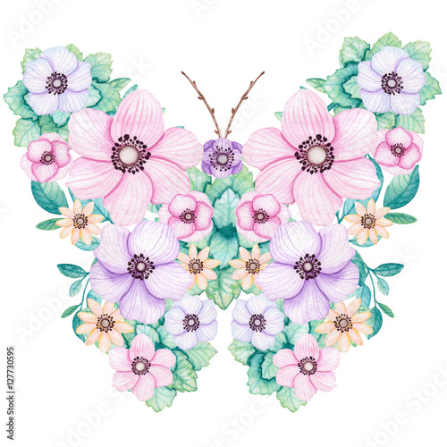 Fototapeta Romantic Floral Butterfly with Watercolor Pink, Violet and Yellow Flowers
