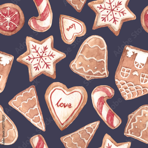 Cotton fabric Nice ginger cookies vector pattern