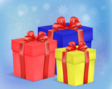 set of cardboard gift boxes with ribbon