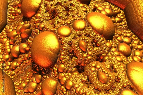 Fototapeta Golden reflective fractal surface with spheres