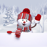 3d snowman waving hand, winter forest landscape, Christmas Holiday background, festive greeting card, blank banner